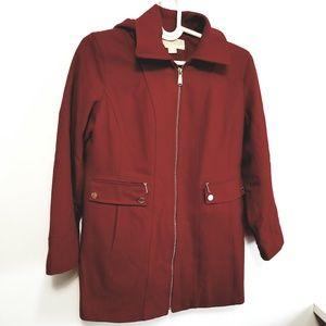 Michael Kors Red Hooded Walker Coat Jacket L -H7